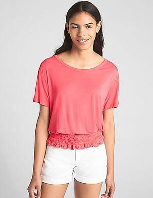 GAP Women Pink Short Sleeve Smocked Hem Top