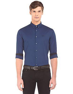 Flying Machine Cotton Stretch Button Down Shirt