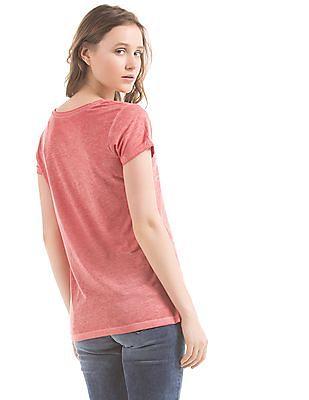 EdHardy Women Regular Fit Embellished T-Shirt