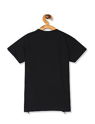 Colt Black Boys Crew Neck Graphic Print T-Shirt
