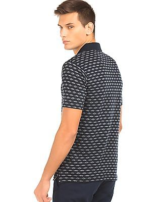Nautica Striped Patterned Knit Polo Shirt