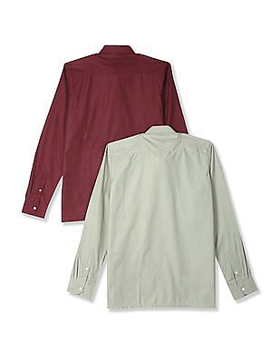 Excalibur Assorted Long Sleeve Solid Shirt - Pack Of 2