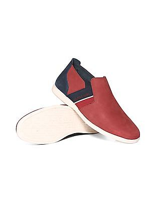 U.S. Polo Assn. Contrast Trim Leather Slip On Shoes