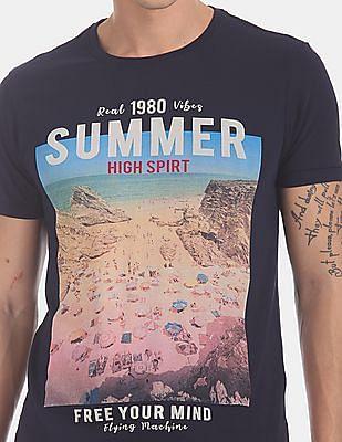 Flying Machine Blue Printed Cotton Jersey T-Shirt