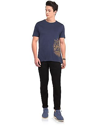 Colt Blue Round Neck Graphic T-Shirt