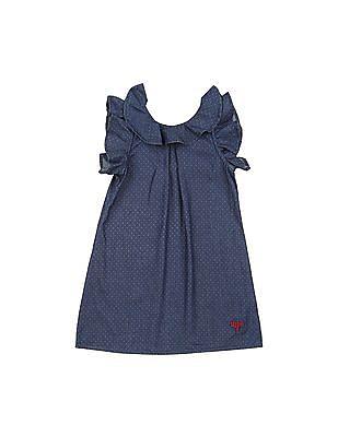 U.S. Polo Assn. Kids Girls Ruffle Trim Chambray Dress