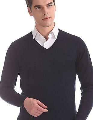 Arrow Blue V-Neck Solid Sweater