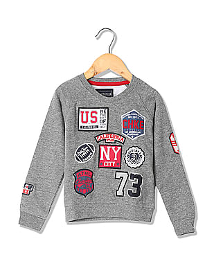 Cherokee Boys Applique Crew Neck Sweatshirt