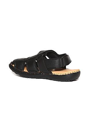 Arrow Crossover Textured Strap Sandals