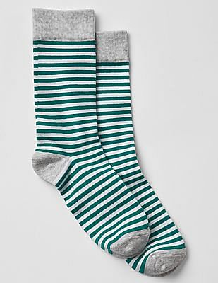 GAP Unisex Adults Green and Off-White Simple Stripe Crew Socks