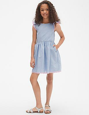 GAP Girls Embroidered Dot Fit and Flare Dress