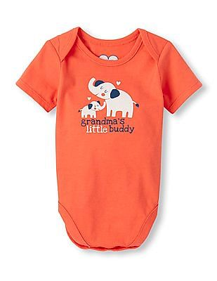 The Children's Place Baby Boys Short Sleeve 'Grandma's Little Buddy' Elephant Graphic Little Talker Bodysuit