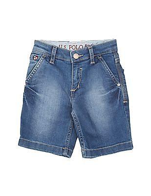 U.S. Polo Assn. Kids Boys Stone Washed Denim Shorts
