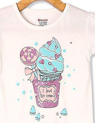 Donuts White Girls Puff Sleeve Glitter Print T-Shirt