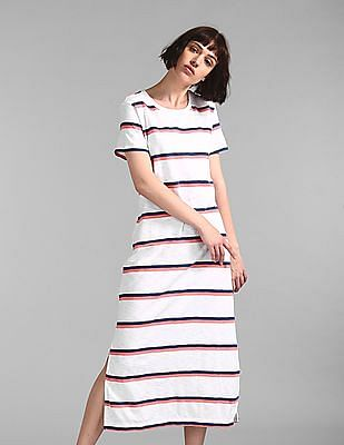 GAP White Crew Neck Striped T-Shirt Dress