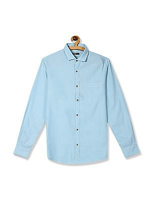 Roots by Ruggers Blue Cutaway Collar Patterned Shirt