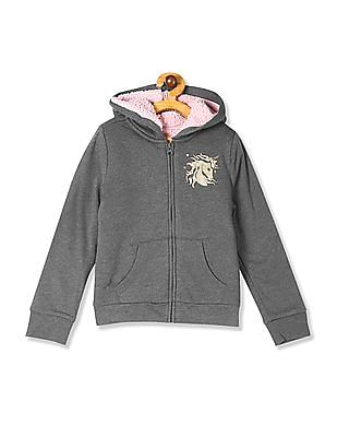 The Children's Place Grey Girls Glitter Graphic Sherpa Zip Up Hoodie