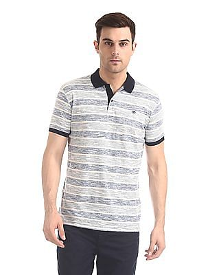 Roots by Ruggers Blue Horizontal Stripe Short Sleeve Polo Shirt