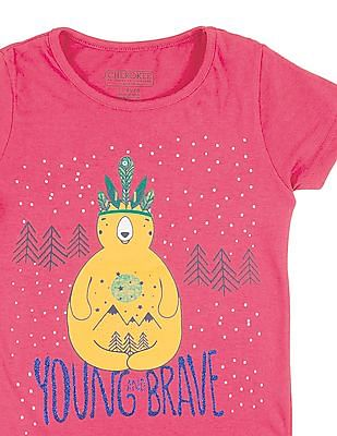 Cherokee Girls Printed Front Cotton T-Shirt