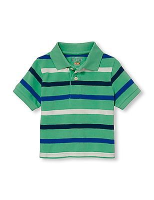 The Children's Place Toddler Boy Green Short Sleeve Striped Pique Polo