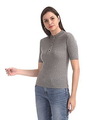 SUGR Grey Patterned Knit Top