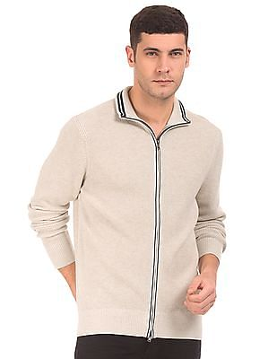Nautica Patterned Knit Zip Up Sweater