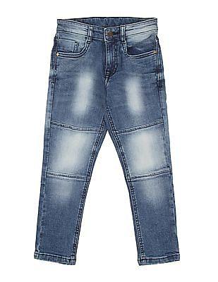FM Boys Boys Acid Washed Panelled Jeans