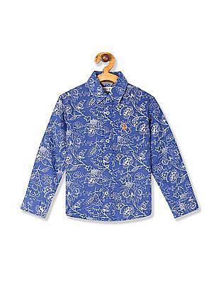 U.S. Polo Assn. Kids Blue Boys Printed Cotton Linen Shirt