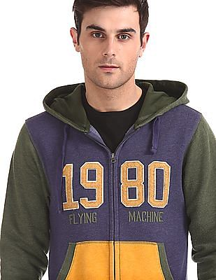 Flying Machine Colour Block Hooded Sweatshirt
