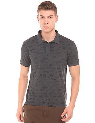 U.S. Polo Assn. Denim Co. Brand Print Pique Polo Shirt