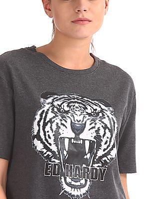 EdHardy Women Printed Short Sleeve Sweatshirt
