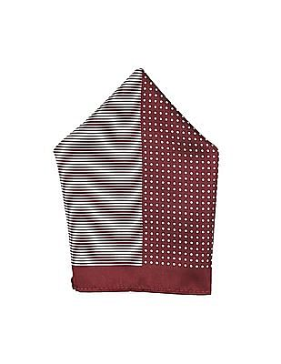 Arrow Maroon And Off White Printed Pocket Square