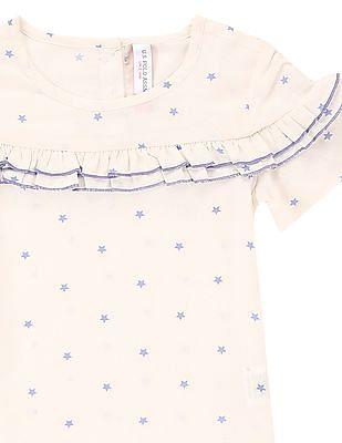 U.S. Polo Assn. Kids Girls Ruffle Trim Star Print Top