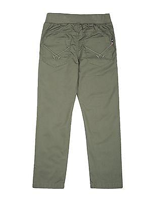 U.S. Polo Assn. Kids Boys Solid Elasticized Waist Trousers