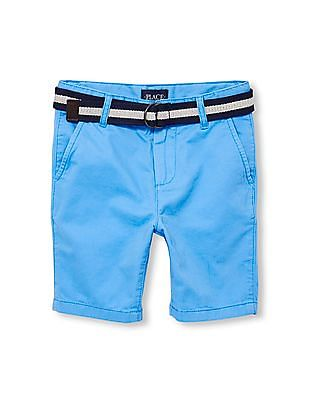 The Children's Place Boys Belted Solid Woven Chino Shorts