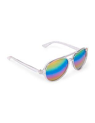 The Children's Place Toddler Girl Rainbow Glitter UV Sunglasses