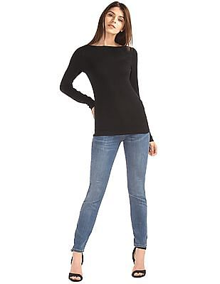 GAP Women Black Modern Long Sleeve Boatneck Tee
