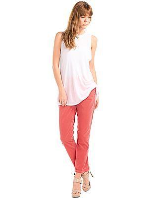 GAP Women Red Girlfriend Twill Stripe Chino
