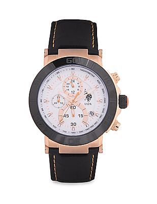 U.S. Polo Assn. Leather Strap Chronograph Watch