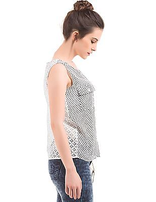 Elle Lace Back Printed Top
