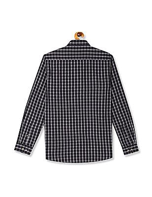 Roots by Ruggers Black And Purple Mitered Cuff Check Shirt