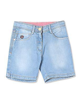 U.S. Polo Assn. Kids Girls Washed Denim Shorts