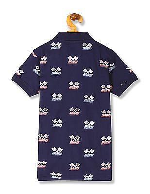 Cherokee Boys Ribbed Collar Printed Polo Shirt