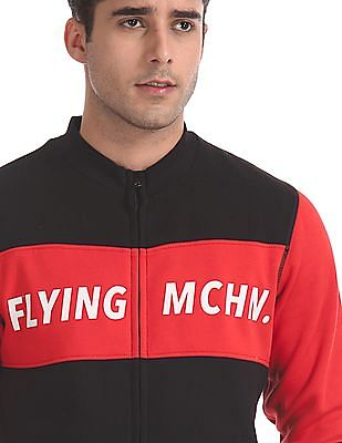 Flying Machine Black Stand Neck Brand Print Sweatshirt