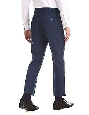Arrow Blue Tapered Fit Windowpane Check Trousers