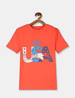 GAP Boys Red Crew Neck Printed T-Shirt