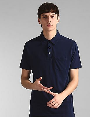 GAP Blue Vintage Slub Jersey Polo Shirt