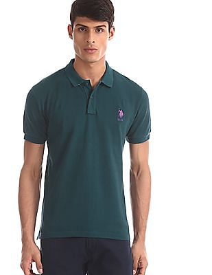 U.S. Polo Assn. Green Solid Pique Polo Shirt