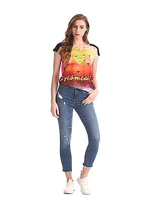 Flying Machine Women Multi Colour Printed Round Neck Top