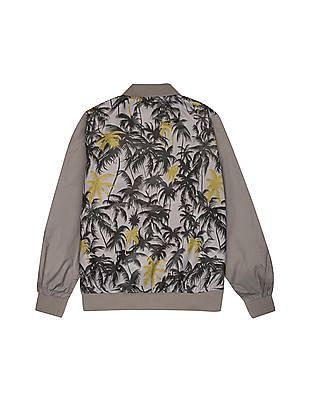 FM Boys Boys Palm Printed Bomber Jacket